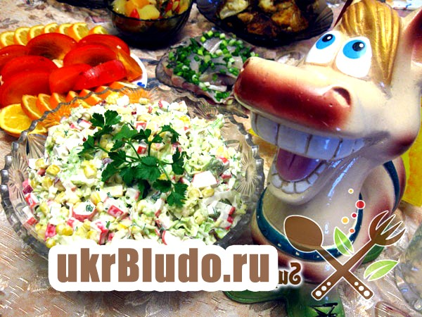 Фото - рецепт салату з крабовими палички