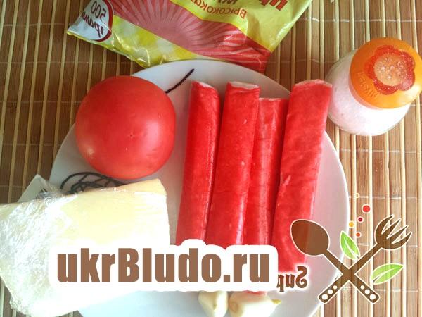 Фото - салат крабові палички помідори сир